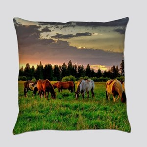 Horses Grazing Everyday Pillow