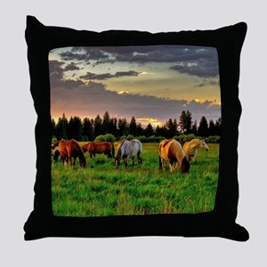 Horses Grazing Throw Pillow