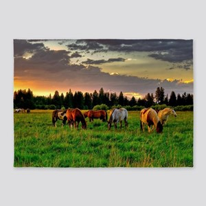 Horses Grazing 5'x7'Area Rug