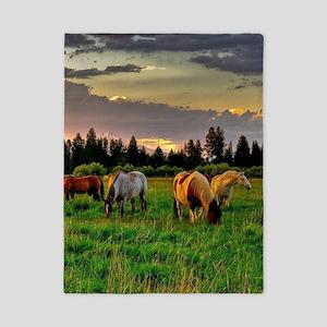 Horses Grazing Twin Duvet
