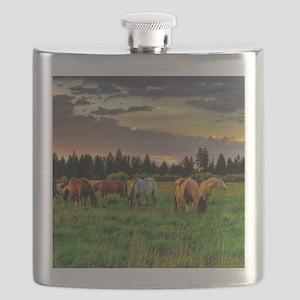 Horses Grazing Flask