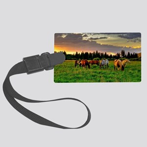 Horses Grazing Luggage Tag