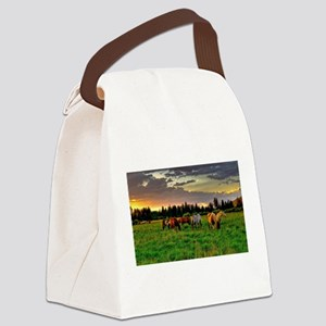 Horses Grazing Canvas Lunch Bag