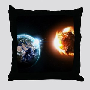 Earth And Asteroid Throw Pillow