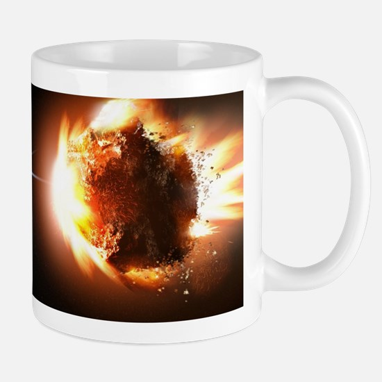 Earth And Asteroid Mugs