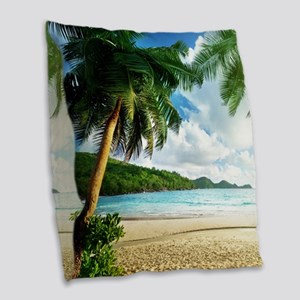 Tropical Beach Burlap Throw Pillow