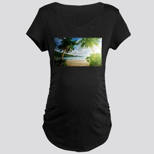 Tropical Beach Maternity T-Shirt