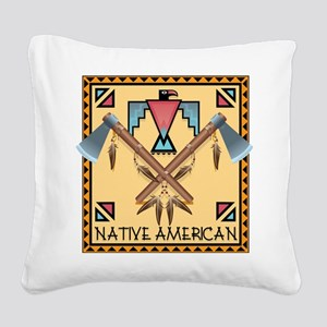 Native American Tomahawks Square Canvas Pillow