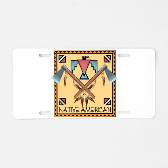 Native American Tomahawks Aluminum License Plate