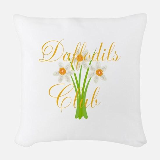 Cute Daffodils Watercolor Gard Woven Throw Pillow