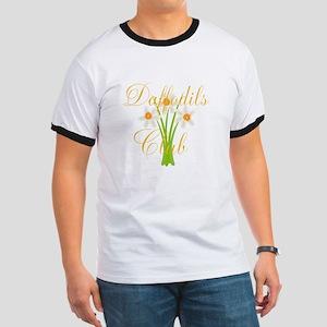 Cute Daffodils Watercolor Gardener Ringer T