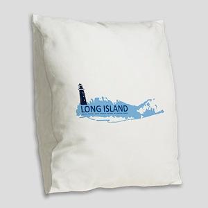 Long Island - New York. Burlap Throw Pillow