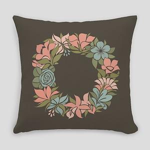 Flowered Summer Floral Wreath Everyday Pillow