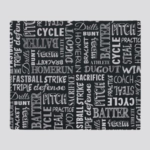 Baseball Game Chalkboard Words Throw Blanket