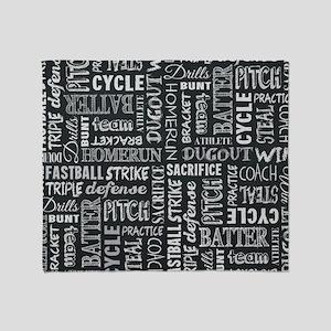 Baseball Game Chalkboard Words Throw Blanket