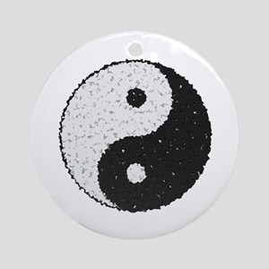 Yin And Yang Symbol With Texture Ornament (Round)