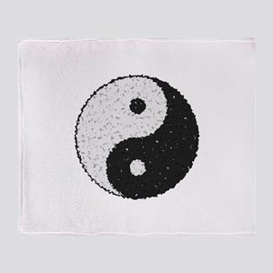 Yin And Yang Symbol With Texture Throw Blanket