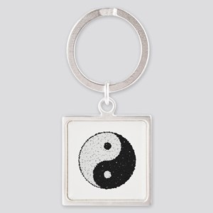 Yin And Yang Symbol With Texture Keychains