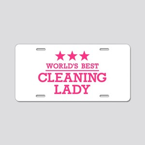 World's best cleaning lady Aluminum License Plate