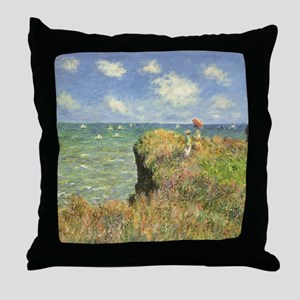 Cliff Walk at Pourville by Claude Mon Throw Pillow