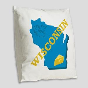 Wisconsin Burlap Throw Pillow