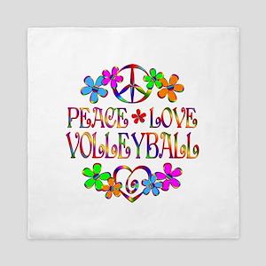Peace Love Volleyball Queen Duvet