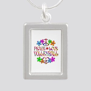 Peace Love Volleyball Silver Portrait Necklace