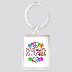 Peace Love Volleyball Portrait Keychain