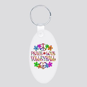 Peace Love Volleyball Aluminum Oval Keychain