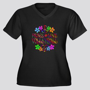 Peace Love V Women's Plus Size V-Neck Dark T-Shirt