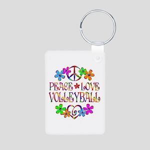 Peace Love Volleyball Aluminum Photo Keychain