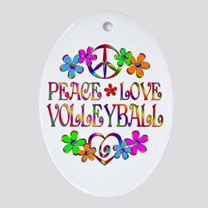 Peace Love Volleyball Ornament (Oval)