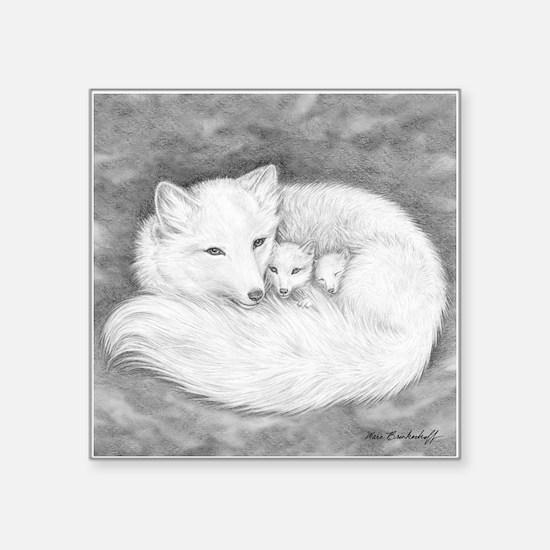 "Arctic Fox Family ~ Square Sticker 3"" X 3&quo"