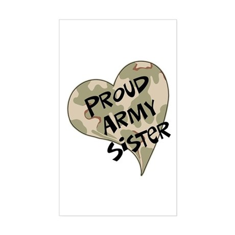 Proud Army sister heart Rectangle Sticker