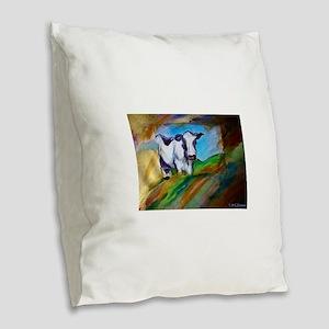 Cow! Bright, animal art! Burlap Throw Pillow