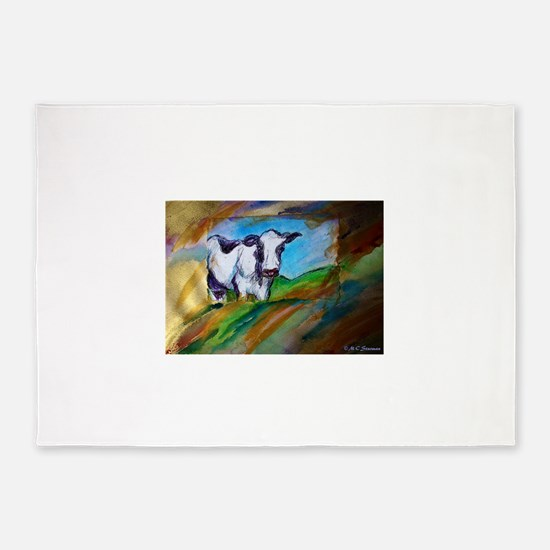 Cow! Bright, animal art! 5'x7'Area Rug