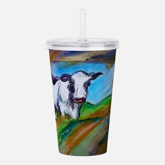 Cow! Bright, animal art! Acrylic Double-wall Tumbl