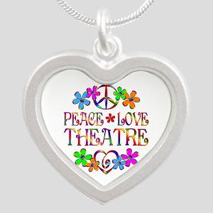 Peace Love Theatre Silver Heart Necklace