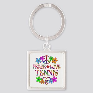 Peace Love Tennis Square Keychain