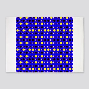 Blue Ebony Yellow Shapes Jerome's F 5'x7'Area Rug