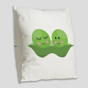 Peas In Pod Burlap Throw Pillow