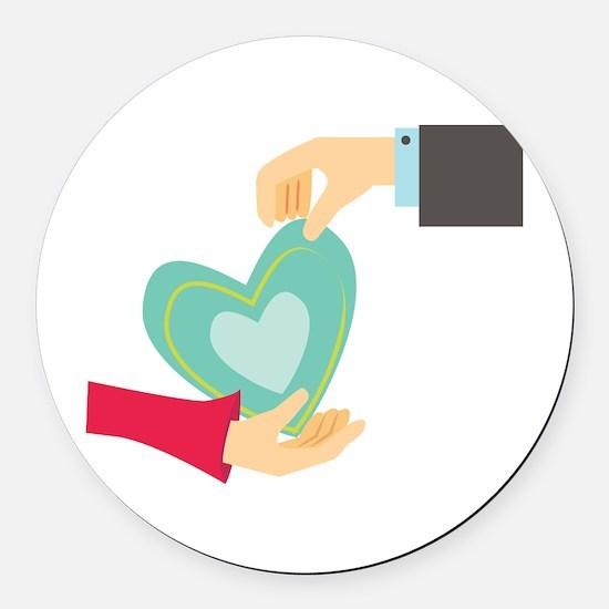 Valentine Heart Round Car Magnet