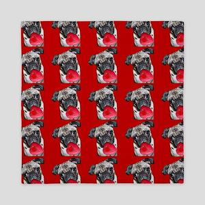 Valentine's Pug dog Queen Duvet