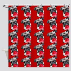 Valentine's Pug dog Shower Curtain