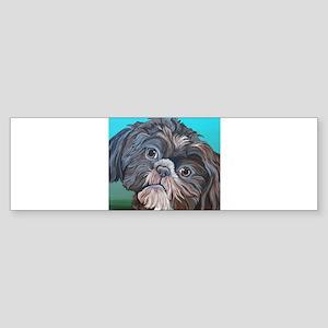 Brown Shih Tzu Dog Bumper Sticker