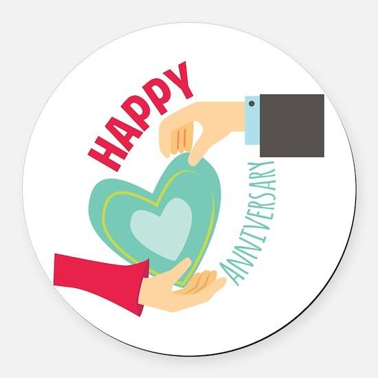 Happy Anniversary Round Car Magnet