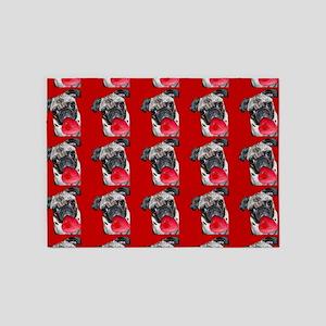 Valentine's Pug dog 5'x7'Area Rug