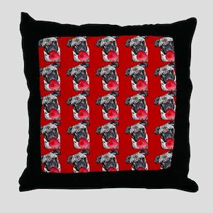 Valentine's Pug dog Throw Pillow
