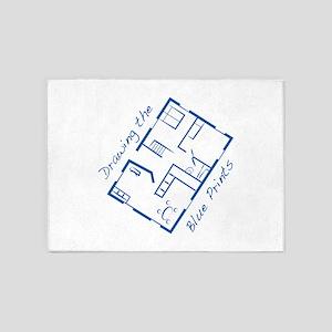 The Blue Prints 5'x7'Area Rug