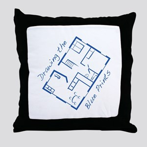 The Blue Prints Throw Pillow